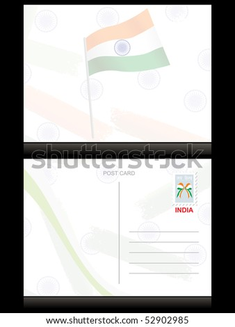 background with ashoka wheel and flag pattern postcard - stock vector
