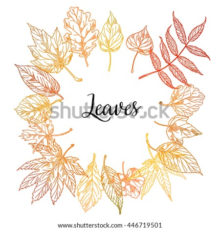 Background with autumn leaves in different colors: red, orange, yellow. Frame illustration for your ads fall with falling leaves - stock vector