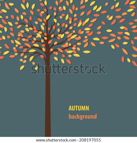 background with autumn tree for your text - stock vector