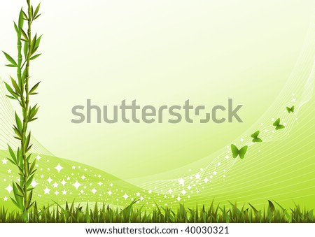 Background with bamboo branches, grass and butterflies. - stock vector