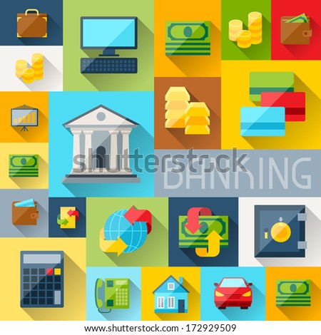 Background with banking icons in flat design style. - stock vector
