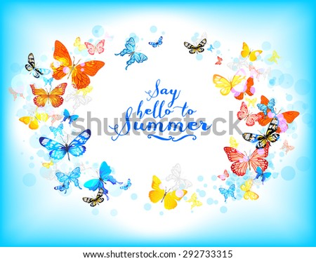Background with beautiful butterflies with place for text. Summer illustration. - stock vector