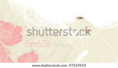 background with beautiful girl - stock vector