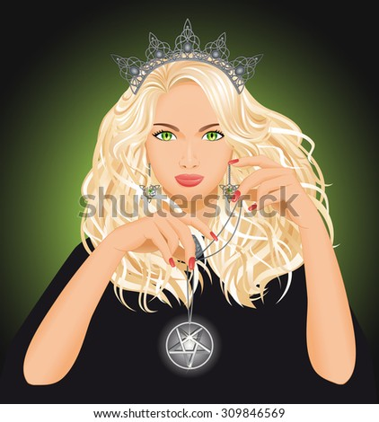 Background with beautiful witch who holds pentagram in hand. Fantasy and halloween concept. Vector illustration. - stock vector
