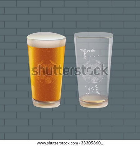 Background with Beer and Soccer Ball. Vector Illustration - stock vector