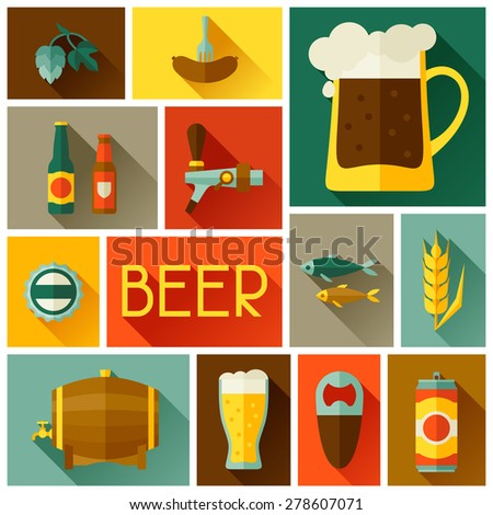 Background with beer icons and objects in flat style. - stock vector