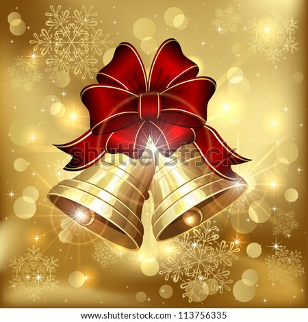 Background with bells, bow and snowflakes, illustration. - stock vector