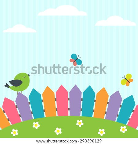 Background with bird and flying butterflies - stock vector