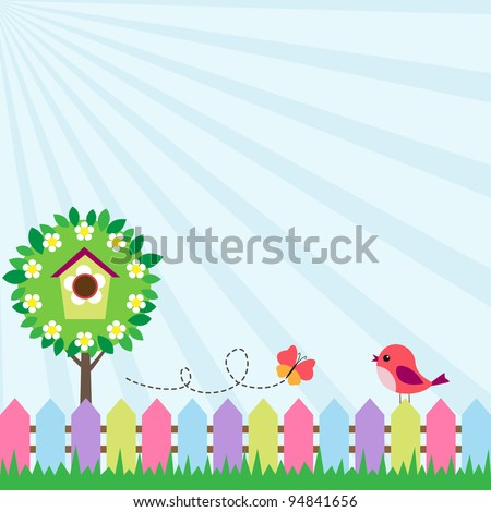 Background with bird and flying butterfly near blooming tree - stock vector