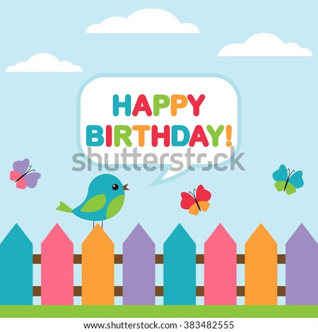 Background with bird on fence and flying butterflies for birthday card or invitation - stock vector