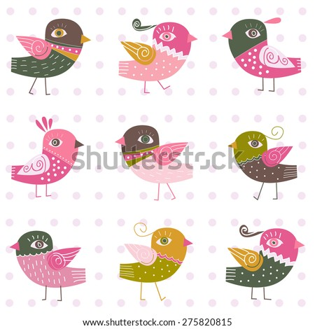 background with birds - stock vector