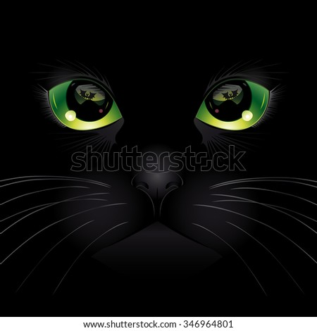 Background with black cat. Vector illustration. - stock vector