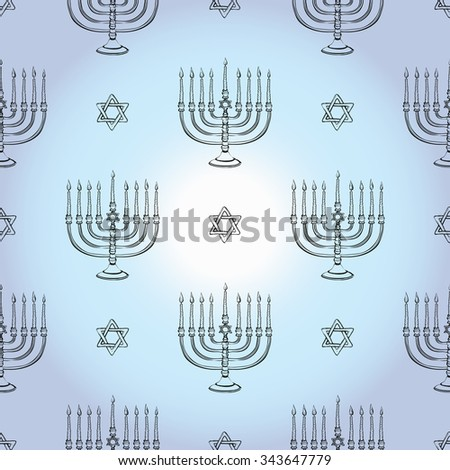 Background with black hand drawing hanukkah celebration symbols: candlestick and david star. Set of isolated chanukah ceremony decorative art elements on light blue backdrop