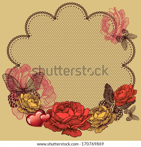 Background with blooming roses, lace napkin and butterflies. Vector illustration. - stock vector