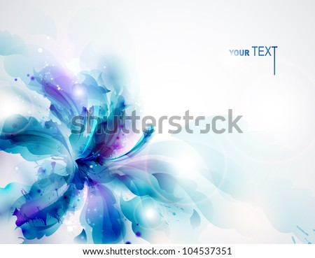 Background with blue abstract flower - stock vector