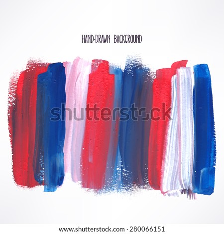 background with blue and red strokes. hand-drawn illustration - stock vector