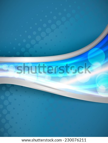 background with blue flowing lights and lines - stock vector