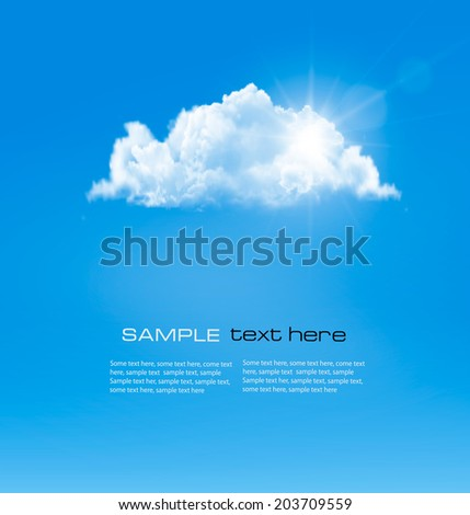 Background with blue sky and a cloud. Vector.  - stock vector