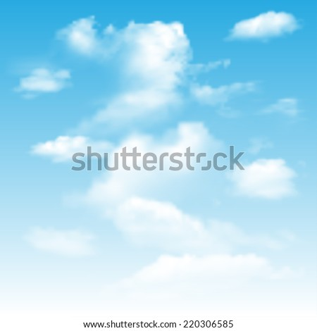 Background with blue sky and clouds. - stock vector