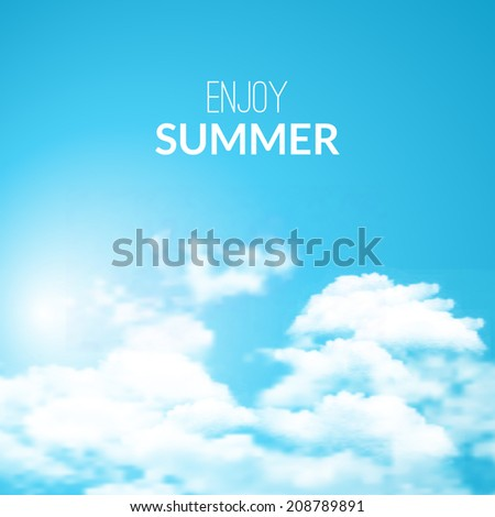 Background with blue sky and clouds. Vector. - stock vector