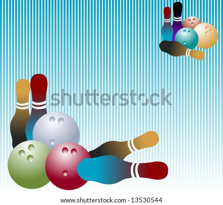 Background with blue vertical lines, colored bowling balls and various skittles - stock vector