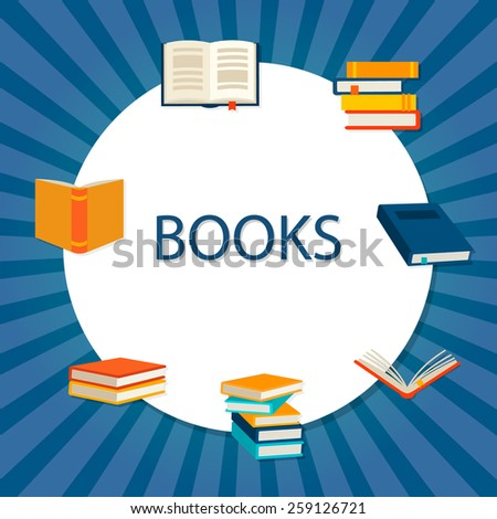 Background with books set, vector illustration - stock vector