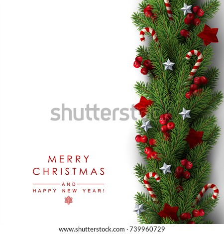 Background with Border of Realistic Looking Christmas Tree Branches Decorated with Berries, Stars and Candy Canes.