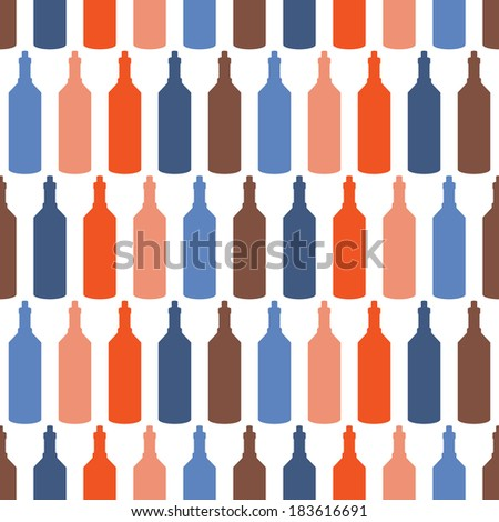 Background with bottles ,seamless pattern with wine bottles