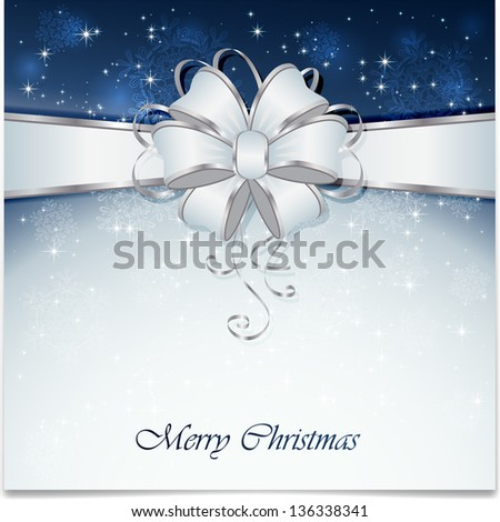 Background with bow, snowflake, stars and blurry light, illustration.
