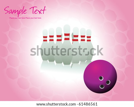 background with bowling pins and ball - stock vector