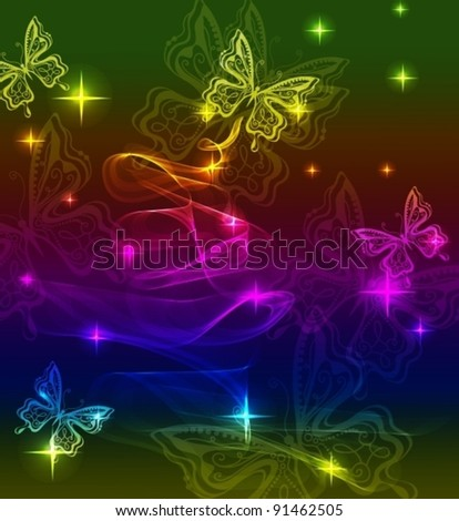 Background with bright butterfly and wave, vector, eps10 - stock vector