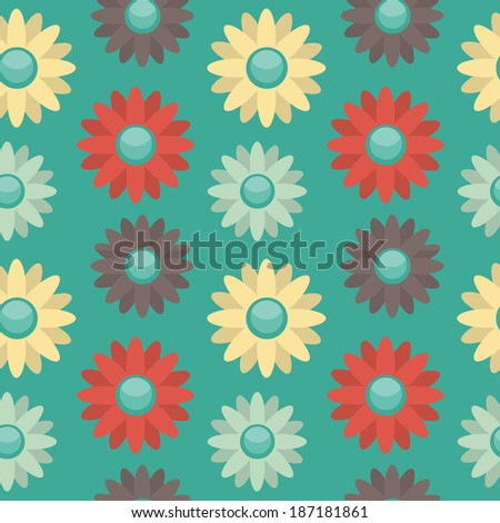 Background with bright colored flowers