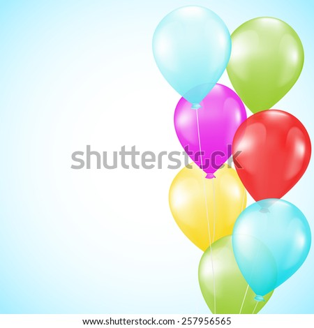 background with bright colorful balloons as a border - stock vector