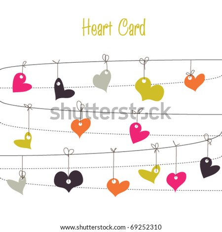 Background with bright stylish doodle colorful hearts