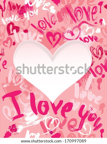 Background with brush strokes and scribbles in heart shapes and words LOVE, I LOVE YOU  - Valentines Day card - stock vector