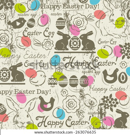 Background with bunny, easter eggs, flower, chicks, hen and greetings text Happy Easter. Decorative composition suitable for invitations, greeting cards, flyers, banners. - stock vector