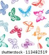 background with butterflies - stock vector