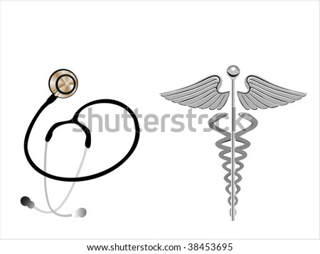 background with caduceus emblem and stethoscope - stock vector