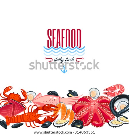 Background with cartoon food: seafood - tuna, salmon, clams, crab, lobster. Vector illustration, eps 10. - stock vector