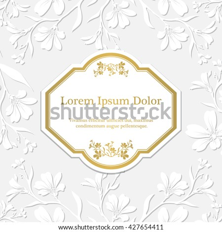Background with chickweed (tomentosum) graphic flowers. Embossed paper imitation - stock vector