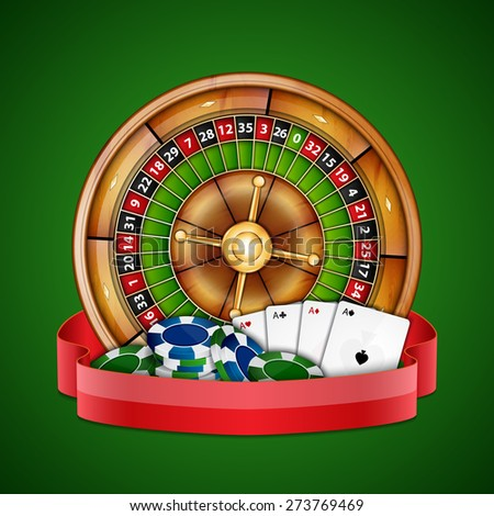 Background with chips, cards and roulette. Casino background. EPS10 vector