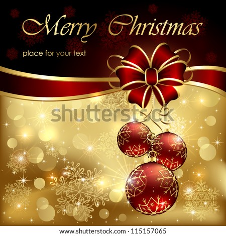 Background with Christmas baubles, bow and snowflakes, illustration. - stock vector