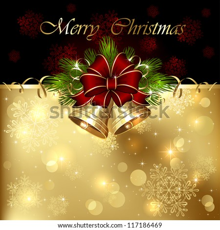 Background with Christmas bells, bow and tinsel, illustration. - stock vector