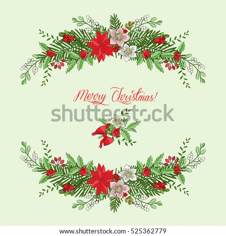 Background with Christmas decoration. Hand drawn bouquet elements with poinsettia,  mistletoe and bow. Vector  Illustration