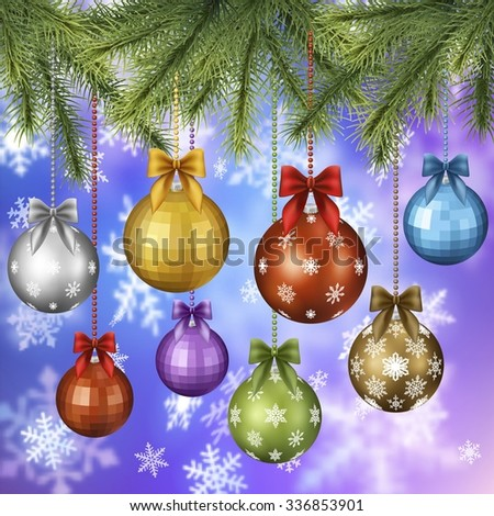 Background with christmas toys and pine tree brunch, EPS 10 contains transparency, clipping mask used. - stock vector