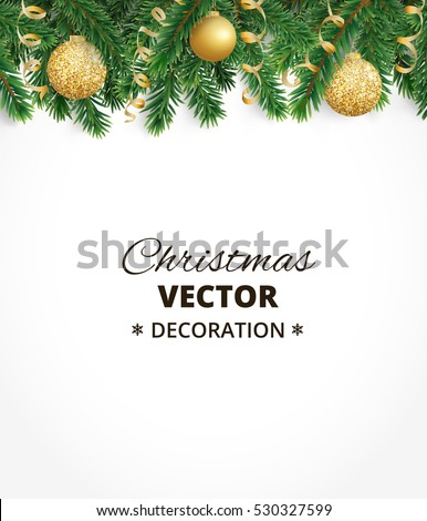 Background with christmas tree garland and ornaments. Hanging golden glitter balls and ribbons. Great for greeting cards, banners, flyers, party posters. Vector illustration