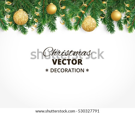 Background with christmas tree garland and ornaments. Hanging golden glitter balls and ribbons. Great for christmas cards, banners, flyers, party posters. Vector illustration