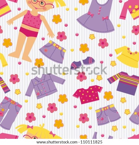 background with clothes for girls, vector illustration - stock vector
