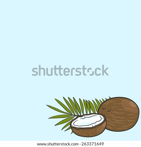 Background with coconut and coconut leaves - stock vector