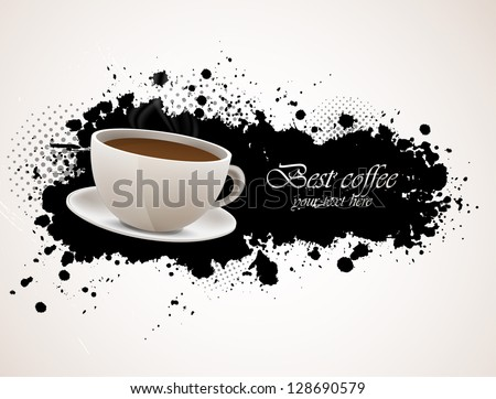 Background with coffee cup - stock vector